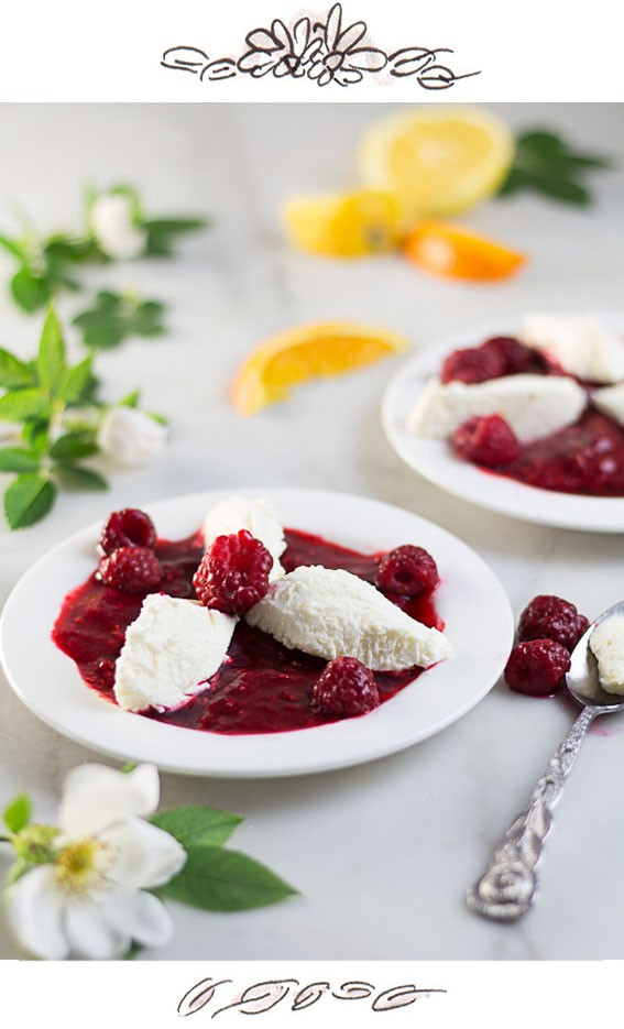 Vanilla Cream Cheese Dessert with Raspberry Sauce - Austrian Topfennockerl