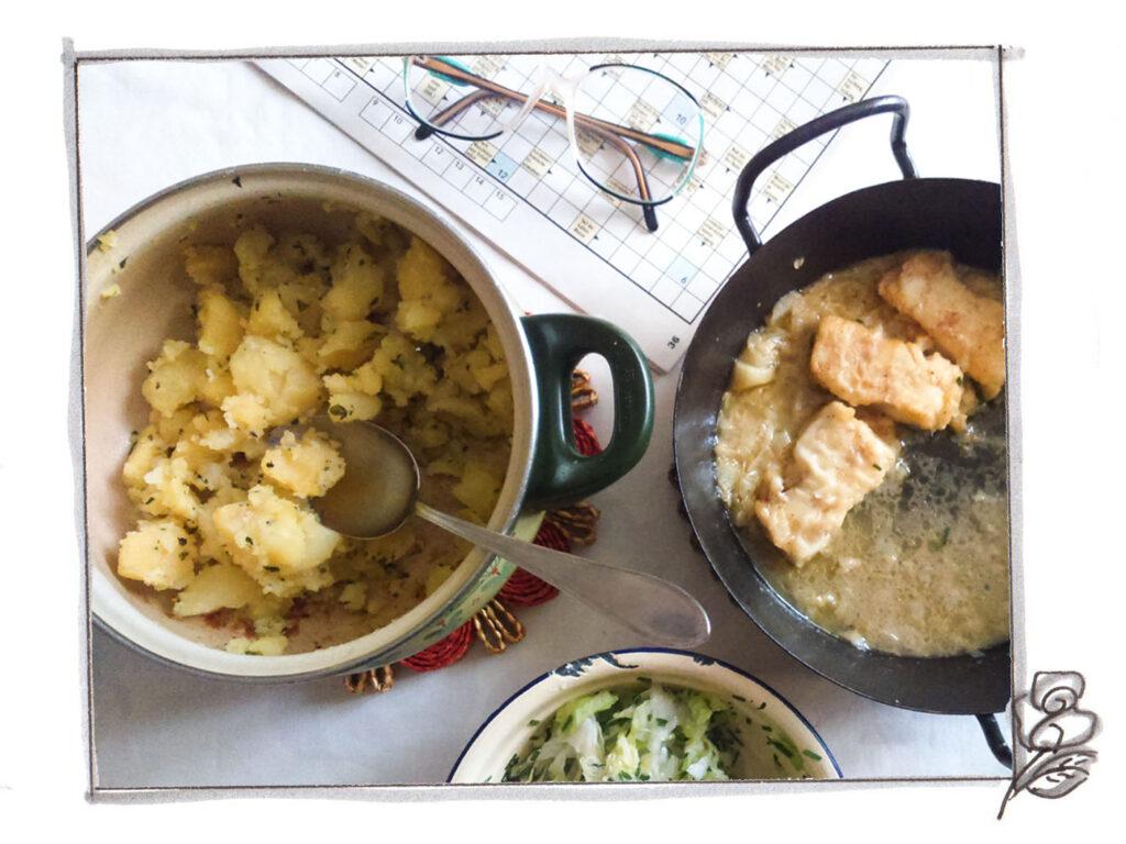 Fish with Leeks and Parsley-Potatoes