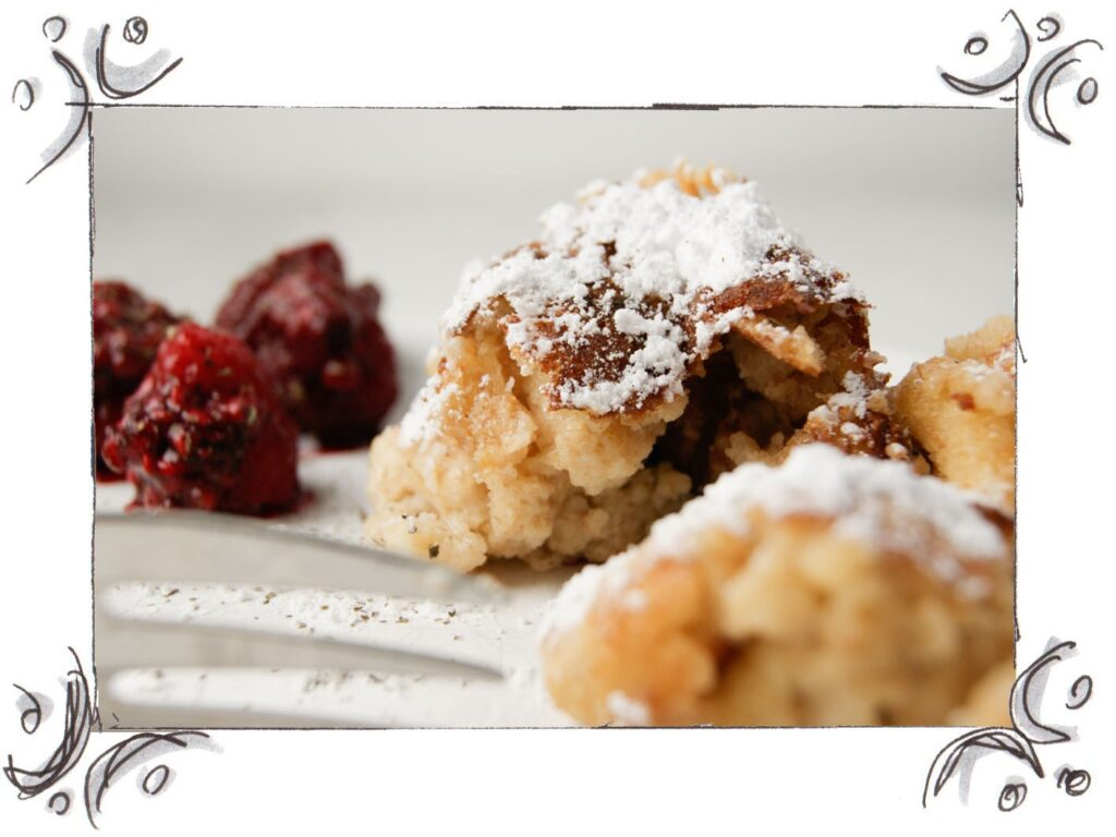 TRADITIONAL SUGARED PANCAKE (KAISERSCHMARRN) WITH OATMEAL, RASPBERRIES AND MINT