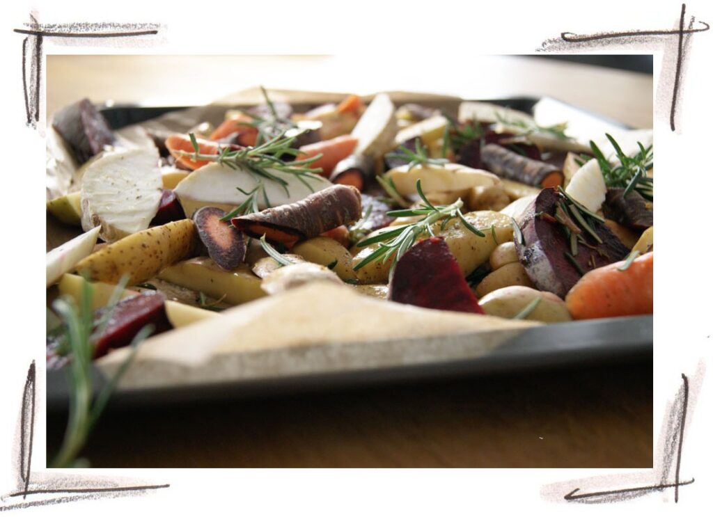 roasted potatoes with beetroot