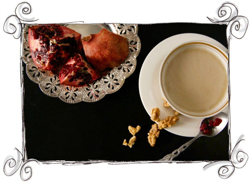 CREAMY CHESTNUT SOUP WITH POMEGRANATE AND WALNUT TOPPING
