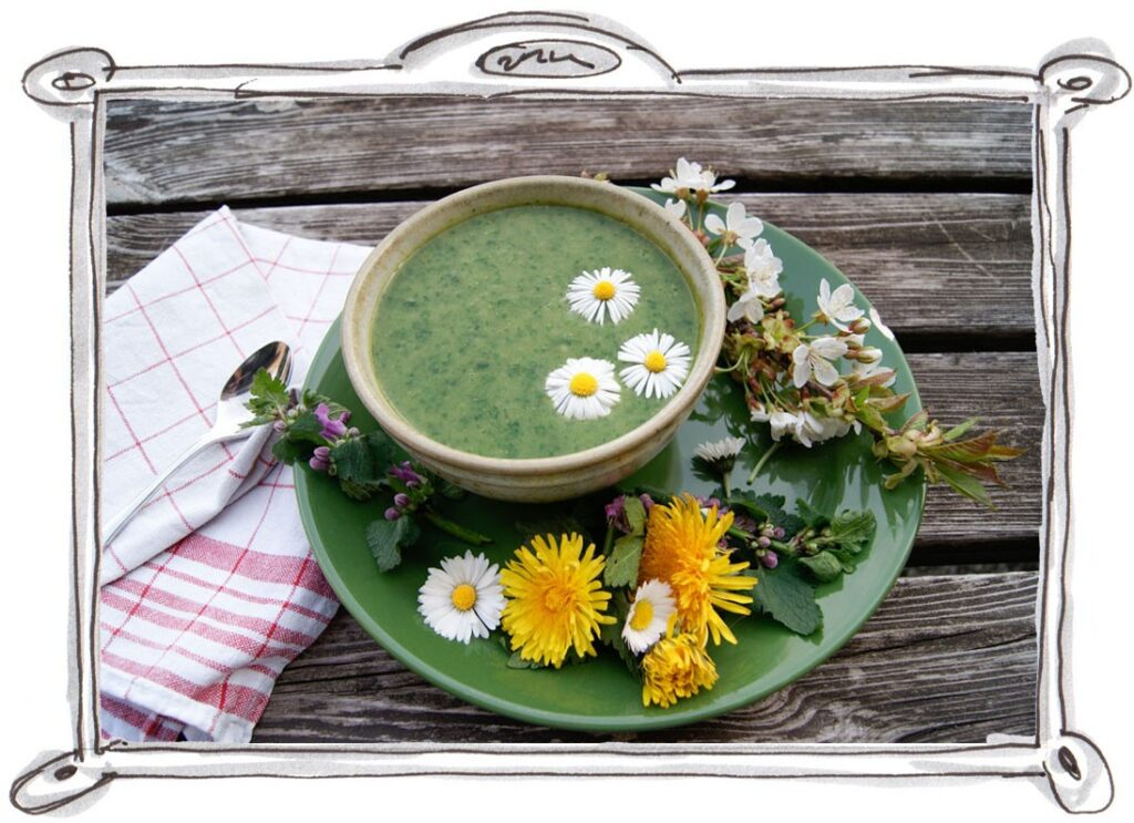 CREAMY WILD GARLIC SOUP WITH DANDELION LEAVES (VEGAN)