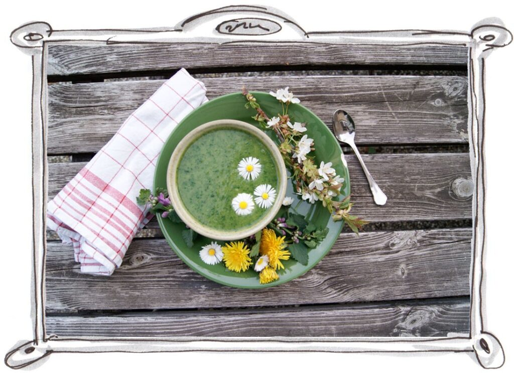 Wild Garlic Soup with Dandelion Leaves