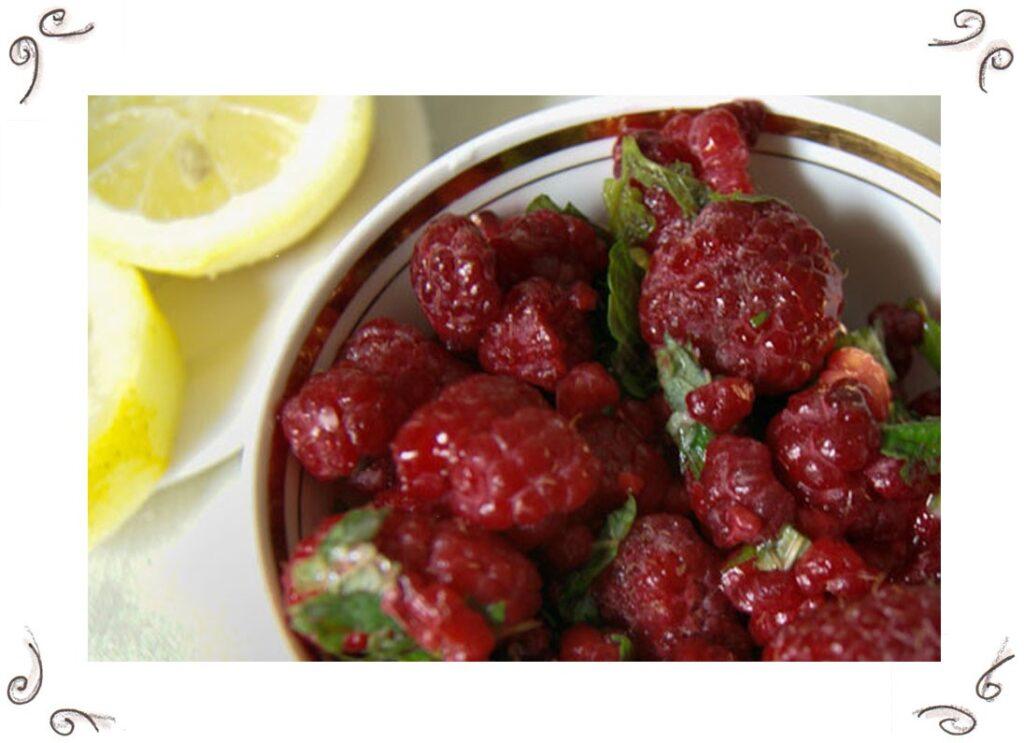 Curd Cream with Raspberries and Lemon Balm Melissa